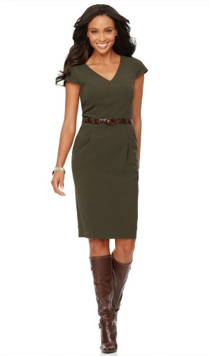 Belted v-neck jersey cap sleeve dress