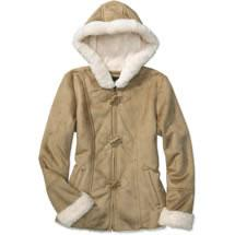 Faded Glory Sueded Hooded Toggle Jacket