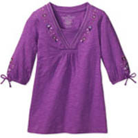 Faded Glory Girls' Mock-Layer Sequin Top