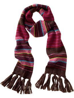 Fair Isle scarf in brown
