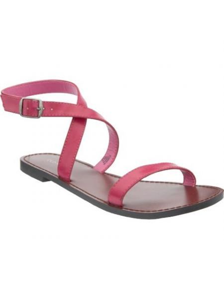 Faux-Leather Ankle-Strap Sandals