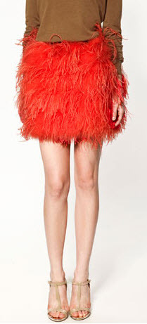 Get frisky in this bright orange feather skirt from Zara.