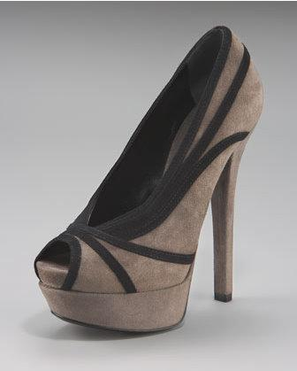 Fendi gray-and-black suede pumps