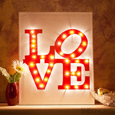 DIY Illuminated LOVE Canvas lit up