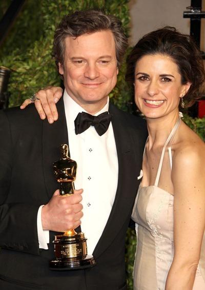 Colin Firth and Livia welcome Oscar