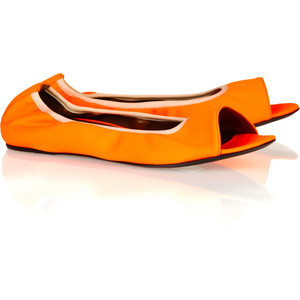 Inject your shoe collection with a serious dose of color with these bright orange Marni ballerina flats.