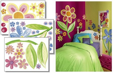 Girls Bedroom Designs on Flower Power Wall Murals   Girls  Bedroom Ideas
