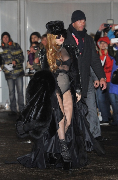 Lady Gaga sheer and fishnets