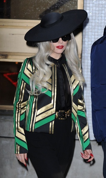 Lady Gaga in a geometric jacket