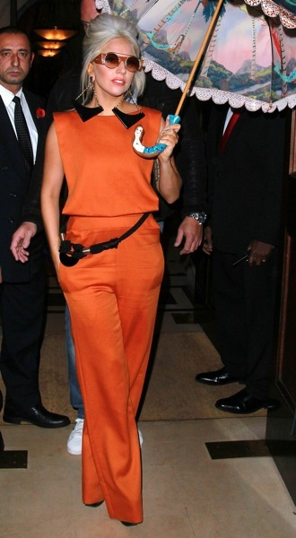 Lady Gaga in black and orange