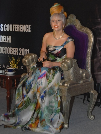 Lady Gaga in a multi colored dress