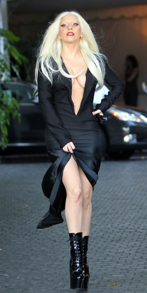 Lady Gaga with deep vneck