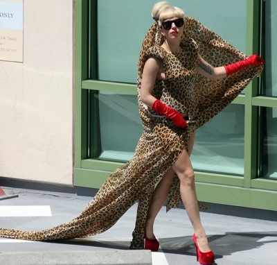 Lady Gaga animal print dress