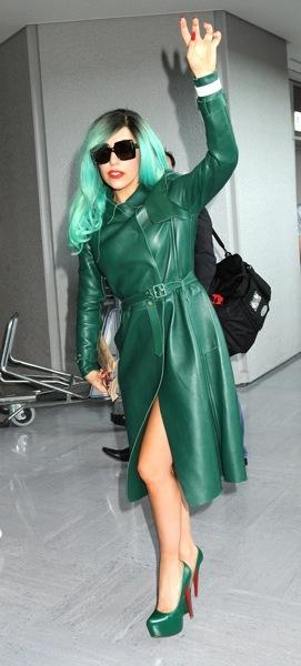 Lady Gaga in green coat