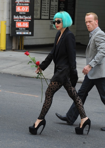 Lady Gaga in lace leggings