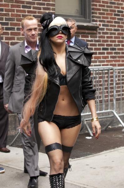 Lady Gaga in black leather