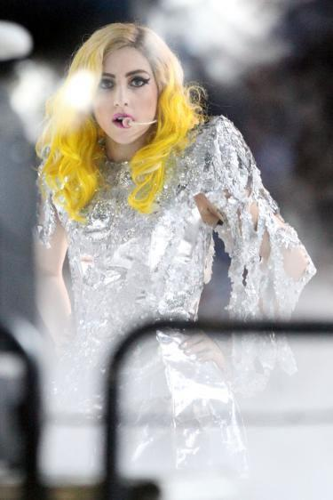 Lady Gaga foiled with yellow hair