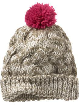 Marled cable knit beanie in camel