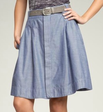 Buttoned Chambray Skirt