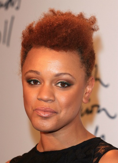 Gemma Cairney's red poof for oblong faces