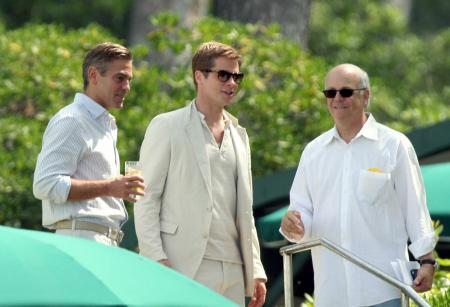 Brad Pitt and George Clooney dressed in white in France