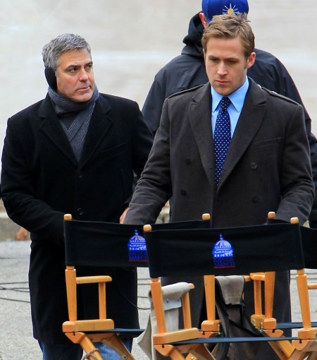George Clooney and Ryan Gosling on the set of Ides of March.