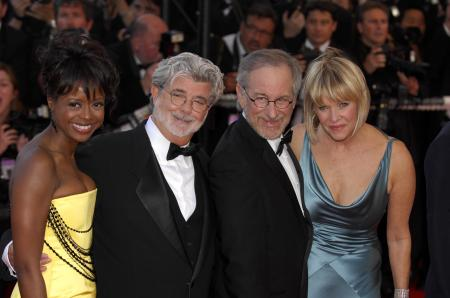 George Lucas with date Mellody Hobson joins Steven Spielberg at premiere