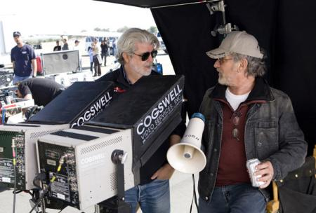 George Lucas and Steven Spielberg on the Indiana Jones set in 2008.