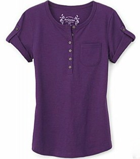 Girl's henley button front shirt