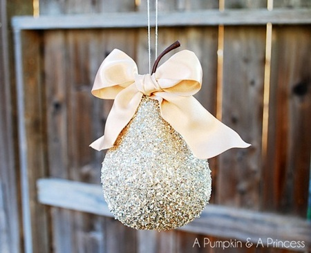 DIY German-inspired glitter pear ornament