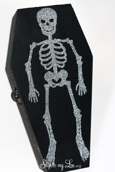 Glitter skeleton coffin boxes