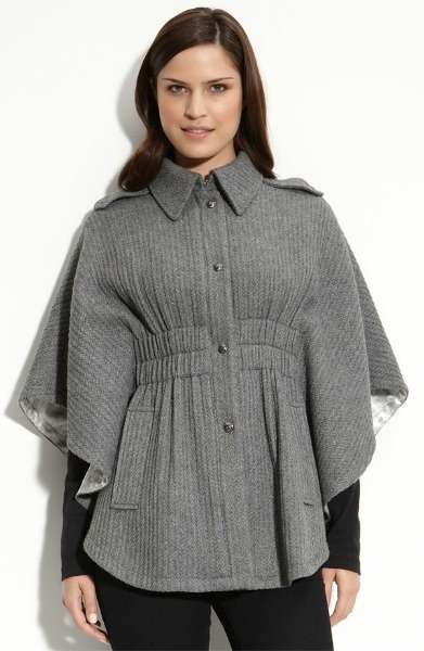 Cable-Knit Gathered-Waist Cape