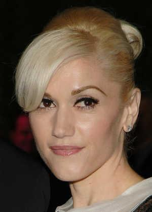 Gwen Stefani Blonde Updo with Bangs