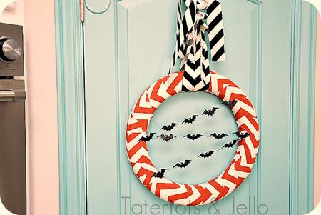 Halloween chevron bat wreath