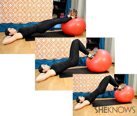 Stability ball hamstring curl with bridge