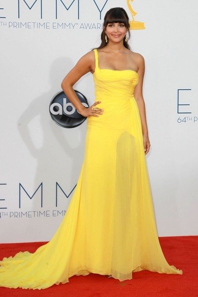 Hannah Simone on the red carpet at the Emmys.