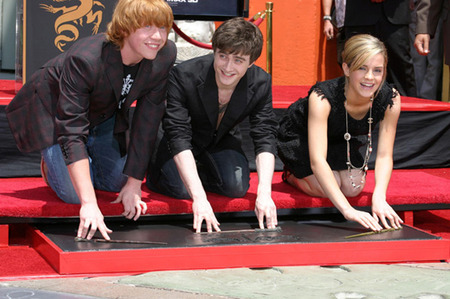 Rupert Grint, Daniel Radcliffe and Emma Watson at the Grauman's Chinese Theatre 2007