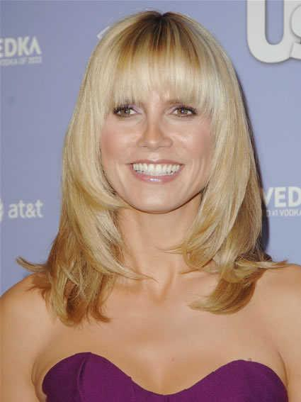 Heidi Klum's Straight Layered Hair with Bangs