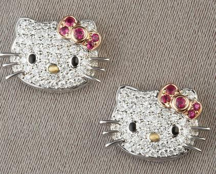 Hello Kitty Pave Diamond Stud Earrings