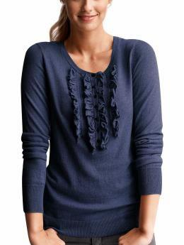 Ruffle-front henley sweater