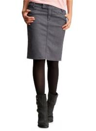 Denim Slant-pocket Pencil Skirt