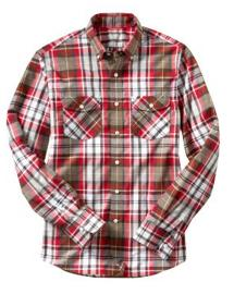 Fitted Two-pocket Red Benjamin Plaid Shirt
