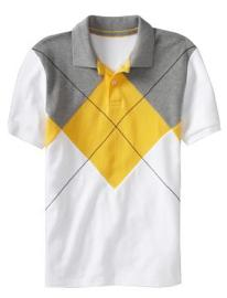 Pieced-Argyle Pique Polo