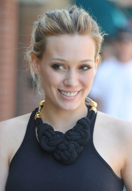 Hilary Duff's casual updo hairstyle