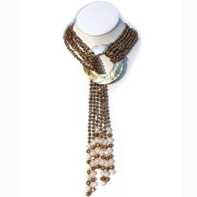 Six-strand chocolate pearl necklace