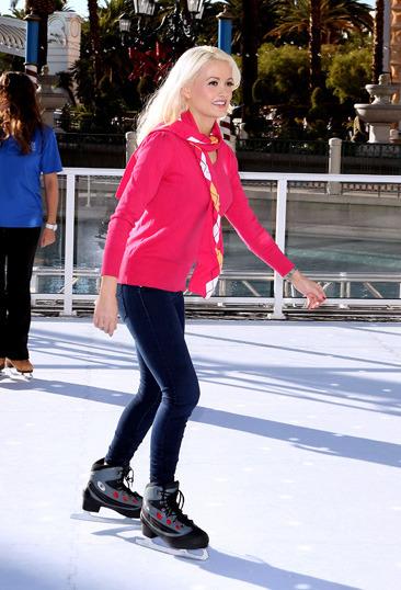 Holly Madison goes ice skating