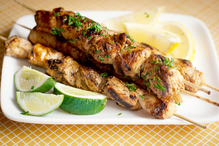 Honey chipotle lime grilled chicken kabobs