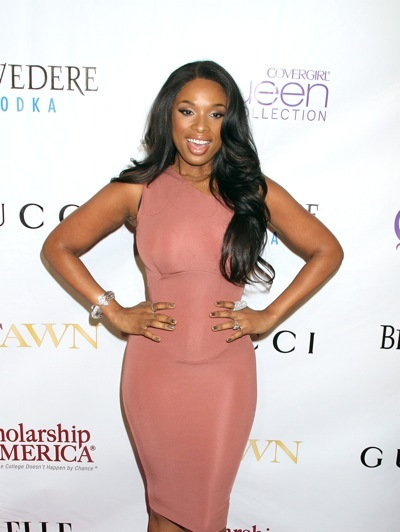 Jennifer Hudson in a samlon dress