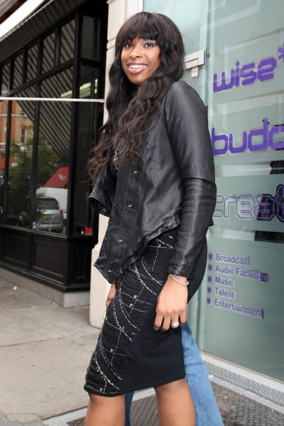 Jennifer Hudson in a leather blazer