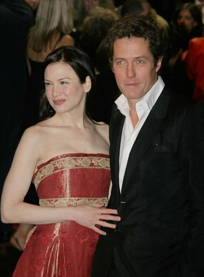 Hugh Grant and Renee Zellweger pose at the premiere of 'Bridgette Jones: The Edge of Reason.'